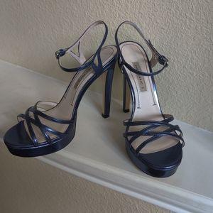 Zara Basic Strappy Blue Stiletto Heels